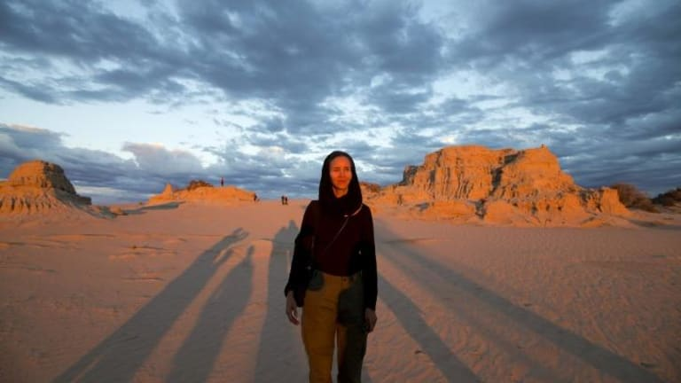 Artist Sasha Huber, Unmapping the End of the World, Mungo National Park.