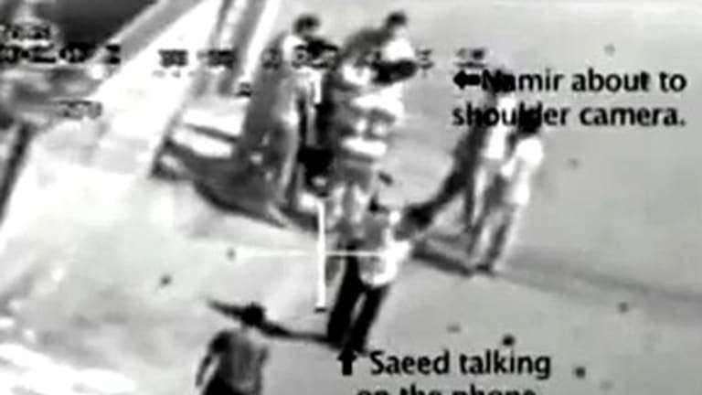A still from the leaked video pointing out the killed Reuters journalists.