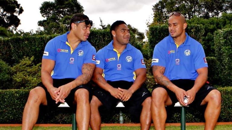 Brothers in arms ... Willie Tonga, left, and brother Esi, right, could play alongside each other for the Eels against Penrith.
