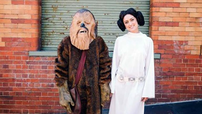 """""""Chewbacca"""" and """"Princess Leia"""" get hitched during a Star Wars themed wedding."""