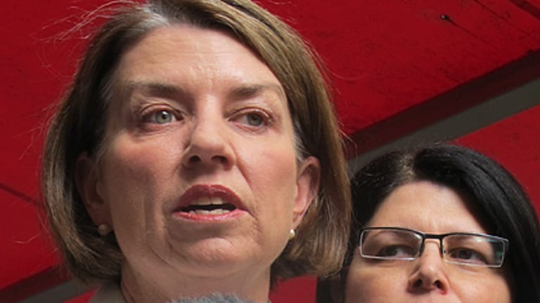 Premier Anna Bligh, with state member for Brisbane Central Grace Grace, announces the crackdown in Fortitude Valley yesterday.