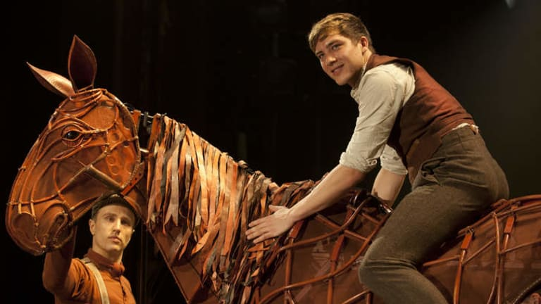 Cody Fern, right, the 24-year-old who plays Albert Narracott in War Horse, has injured his ankle.