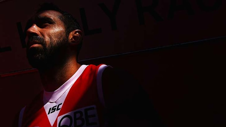 Goodes gold: Adam Goodes will play his 304th match for Sydney this afternoon against the Hawks in Launceston and in doing so surpass his mate Michael O'Loughlin's club record.