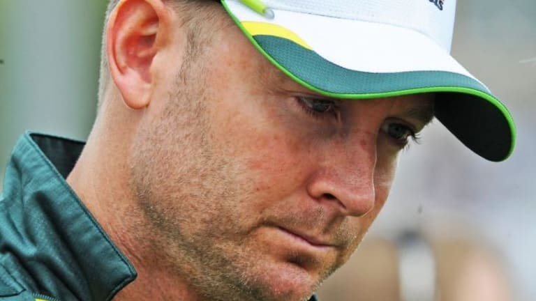Recently retired Michael Clarke is looking chipper in the portrait.