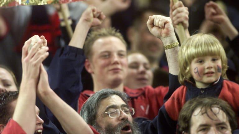 Joe Gutnick celebrates a win by Melbourne Football Club in 2001.
