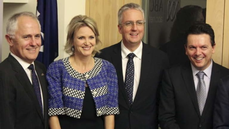 Communications Minister Malcolm Turnbull, Labor MP Melissa Parke, ABC managing director Mark Scott and independent senator Nick Xenophonat the launch of Parliament Friends of the ABC.