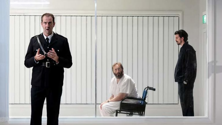 From left, Paul Goodwin-Groen, Anthony Hunt and Patrick George in Sydney Chamber Opera's production of the Philip Glass opera In the Penal Colonly. Photo by Louis Dillon Savage.