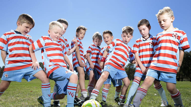 Woden Valley FC U8 team the Rooneys, from left, Reece Harrigan 7, Lucas Carey 7, Hendrix Stanier 8, Ziggy Kewetin- Smith 7, Michael Smith 7, Marc Papandrea 6, Isaac Palywoda 7, Max Mcardle 7 and Jack Davidson 7.  Soccer has had an increase of more than 1000 kids this season with Woden Valley FC having the biggest increase.