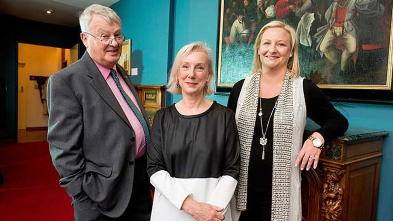 Cripps Foundation Director of Philanthropy Robert Cripps, with Associate Professor Robyn Sloggett (centre) and Foundation Director Amy Tennent. Photo: Peter Casamento.