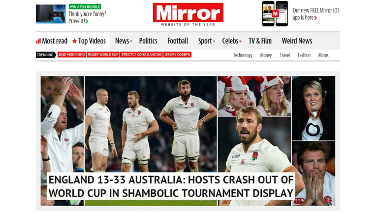 The Mirror following England's Rugby World Cup painful loss to the Wallabies.