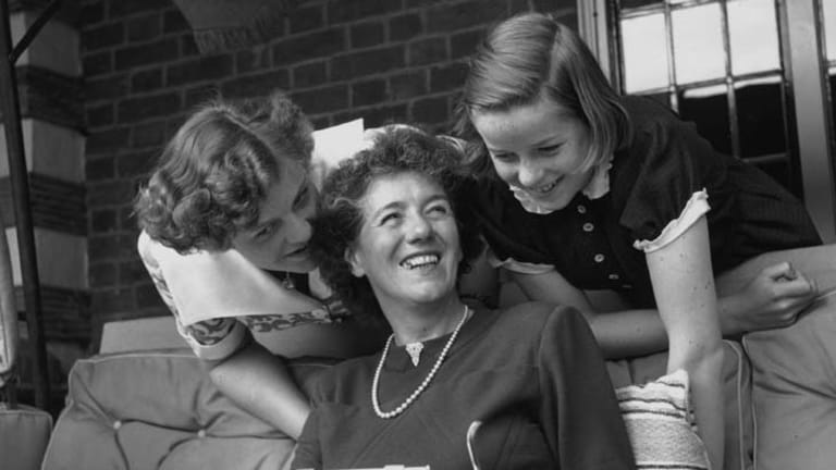 Children's author Enid Blyton, with her daughters Gillian (left) and Imogen in 1949.