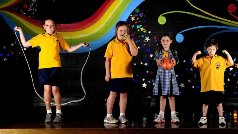 Weetangera Primary School exercise and eating program for overweight children. Kyah Churches (8), Ayva Churches (6), Olivia Milner (6) and Jonathan Jenkin (6) have improved their body composition and fitness.