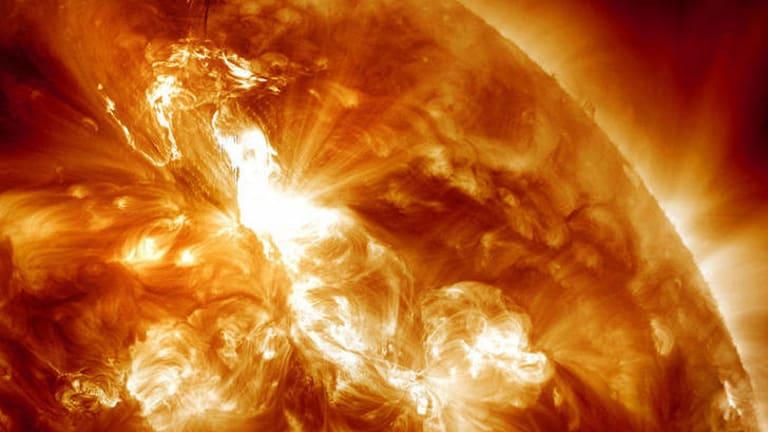 An M9-class solar flare erupting on the Sun's northeastern hemisphere.