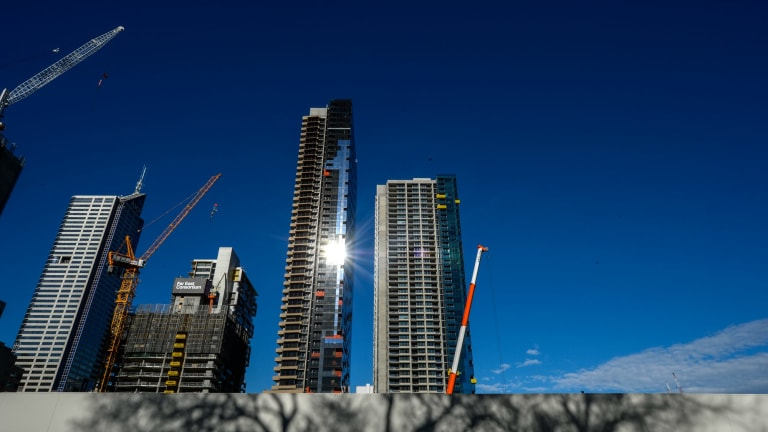 S&P has concerns about an oversupply of apartments, especially in Melbourne, pictured, and Brisbane.