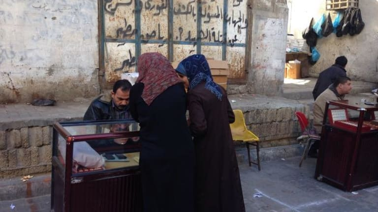 Surveying the wares at a gold market in Gaza.