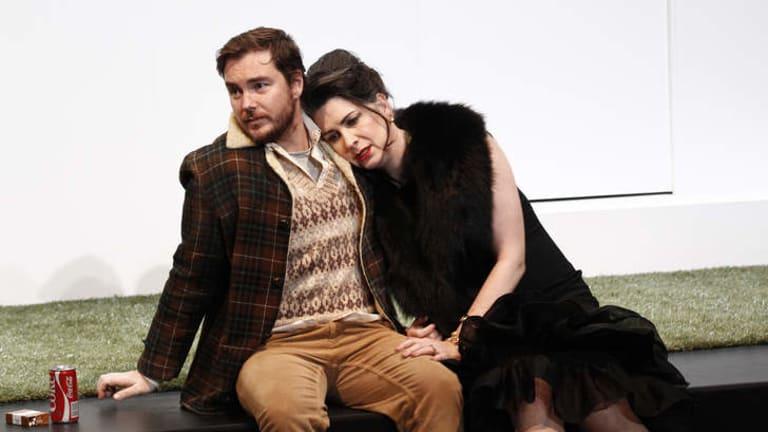Toby Truslove (Trofimov) and Pamela Rabe (Ranevskaya) in <i>The Cherry Orchard</i>.
