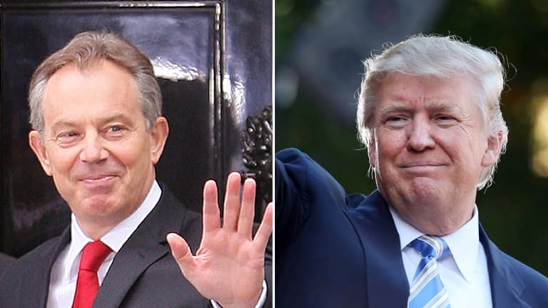 The power of empathy ... and emotion: former British prime minister Tony Blair and US president Donald Trump.