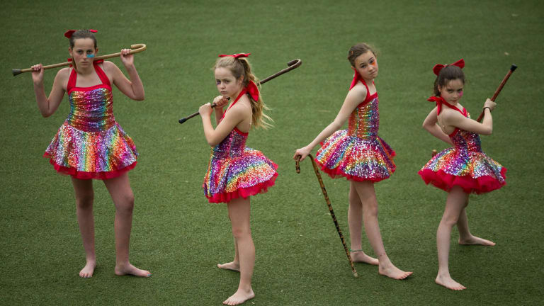 Tessa, Lulu, Ruby and Sylvie (left to right), who are taking part in Rainbow Leprechaun, a show presented by artists' collective Field Theory