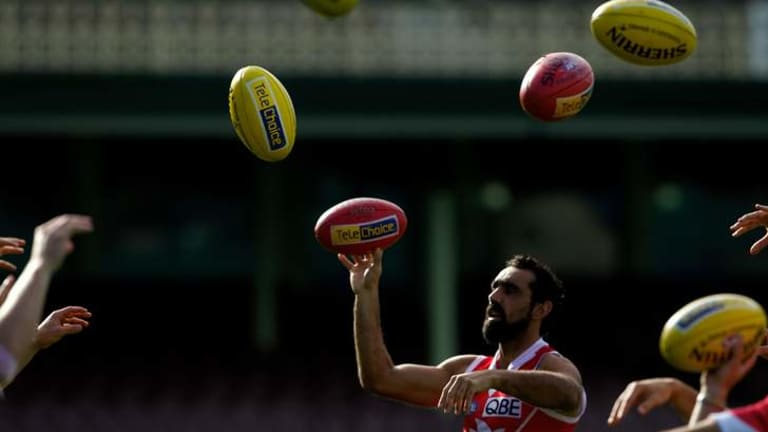 Adam Goodes during a Sydney Swans training session at the SCG. Photo: Wolter Peeters