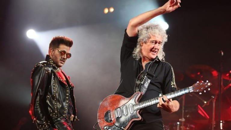 Rockin' out ... Singer Adam Lambert and original Queen guitarist Brian May perform at Allphones Arena. It is Queen's first tour of Australia since 1985.