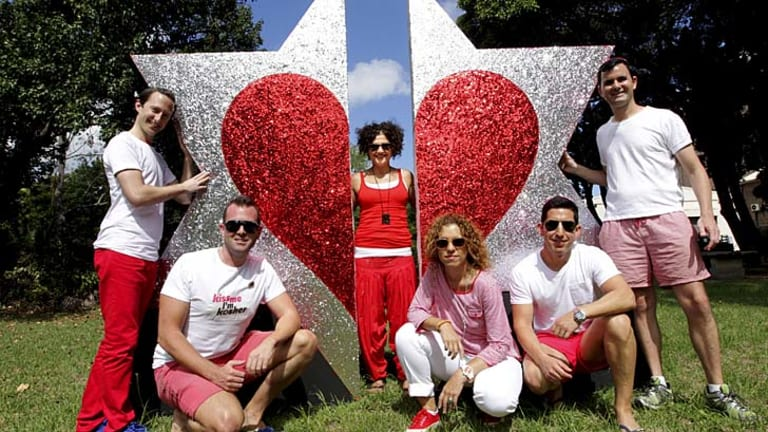 """""""It's important to us to show our presence, to show that to be Jewish and gay is not contradictory"""": The Dayenu Committee, a Jewish group who will have the Star of David with a love heart emblazoned on their float in this year's Mardi Gras parade."""