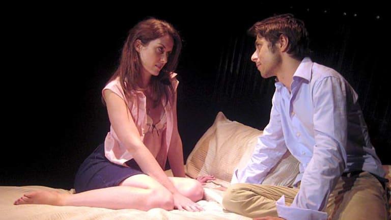 Secrets . . . Megan Alston and Joseph Del Re share a moment.