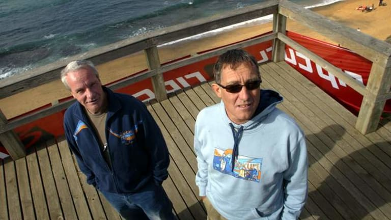 Rip Curl founders Brian Singer and Doug Warbrick at Bells Beach.