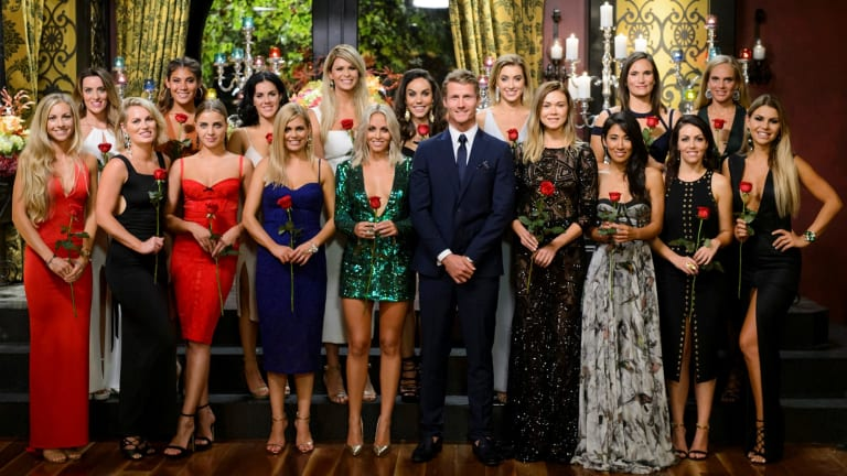 Richie Strahan with the women from The Bachelor.