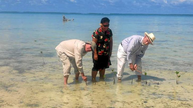 Judges Michael Finnane, left, and John O'Meally in Kiribati.