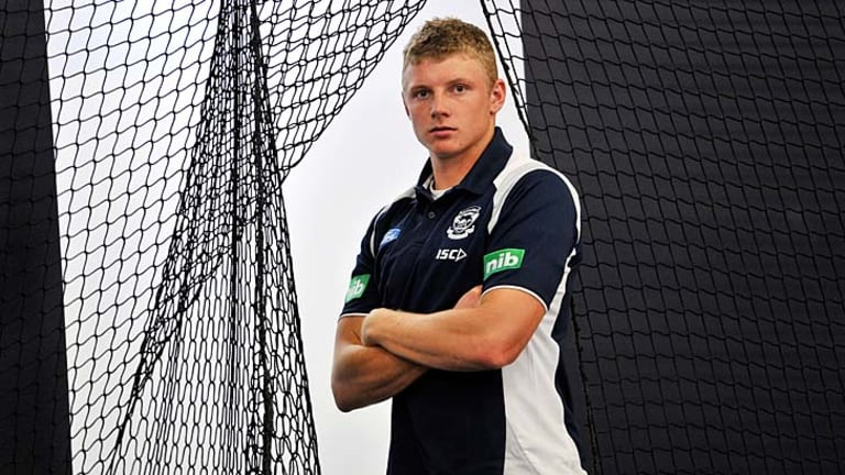 My time: Geelong tagger Taylor Hunt has relished the learning experience of playing on the best in the AFL.