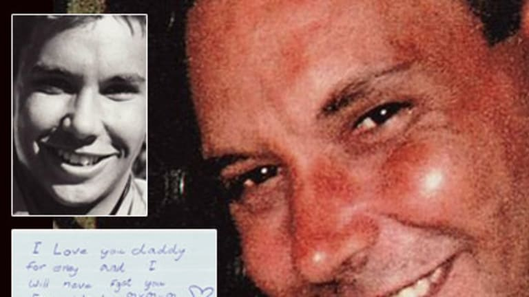 Karl Feifar died after his partner failed to get through to 000. <b>Inset top:</b> Karl Feifar when he was younger. <b>Below:</b> A letter from his eight-year-old daughter begging him to come home.