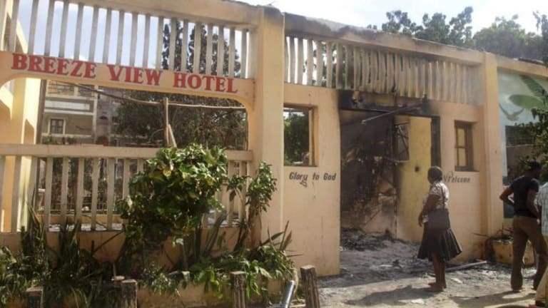 The remains of the Breeze View Hotel, where residents were watching the World Cup when they were attacked.