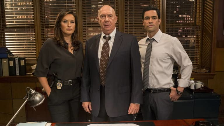 Actor Danny Pino (far right, with co-stars Mariska Hargitay and Dann Florek) says the <i>SVU</i> storylines resonate with real-life victims of sex crimes.