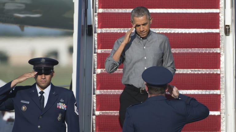 US President Barack Obama at Andrews Air Force Base on Saturday.