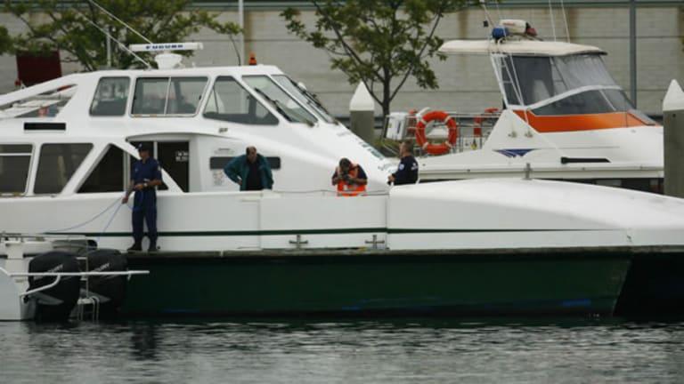 HarbourCat Pam Burridge after it collided with the Merinda on Sydney Harbour.