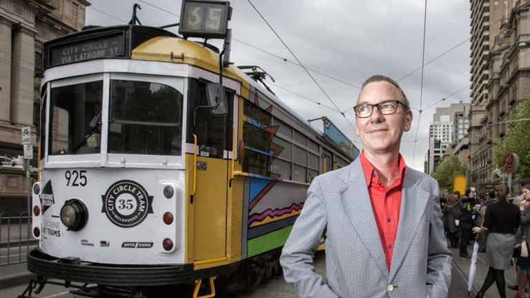 Artist Jon Campbell with his 'Backyard' design for one of eight art trams that will be rolling around during the Melbourne Festival.
