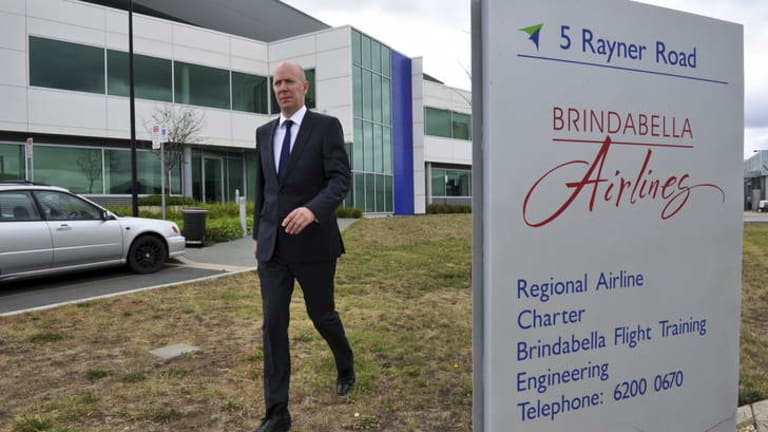 Sebastian Hams, Executive Director of KordaMentha, the company acting as the receiver for Brindabella Airlines, leaves the building after a meeting with staff on Monday morning.