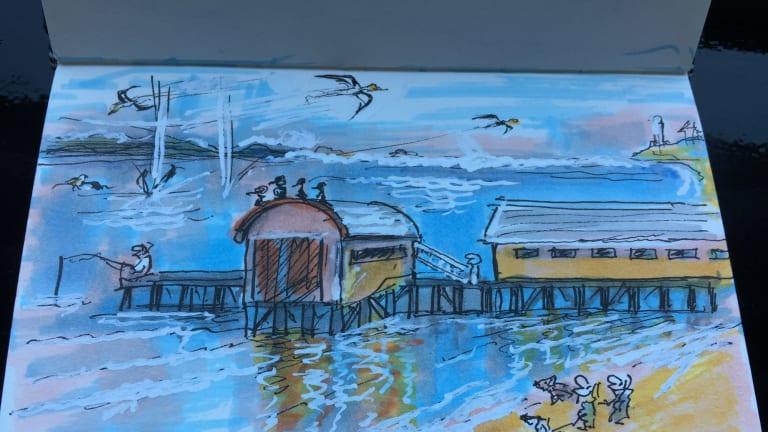 ?Tony Wright's piece on Ron Tandberg Ron Tandberg's last drawing. Queenscliff pier