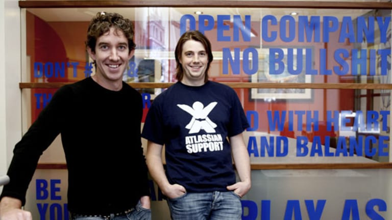 """""""We want to grow to a billion dollars"""" ... Atlassian co-founders Scott Farquar and Mike Cannon-Brookes."""