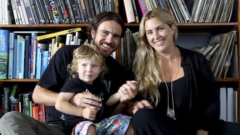 Rome Torti, 30, with his wife Rachel and 2-year-old son Ryder at their home in Miami on the Gold Coast. Rome has an inoperable grade 4 brain tumor and will begin oncotherapy in Sydney later this month.