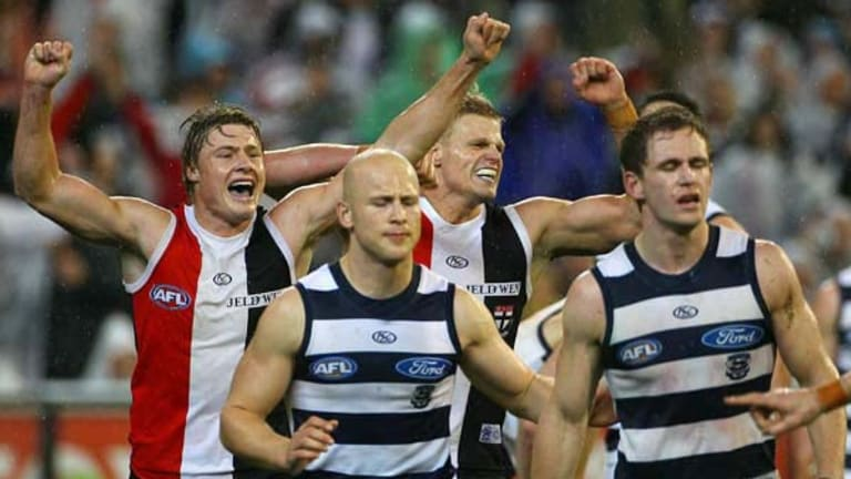 Gary Ablett and Joel Selwood are dejected after the loss to St Kilda last Friday night, but the Cats live to fight another day.