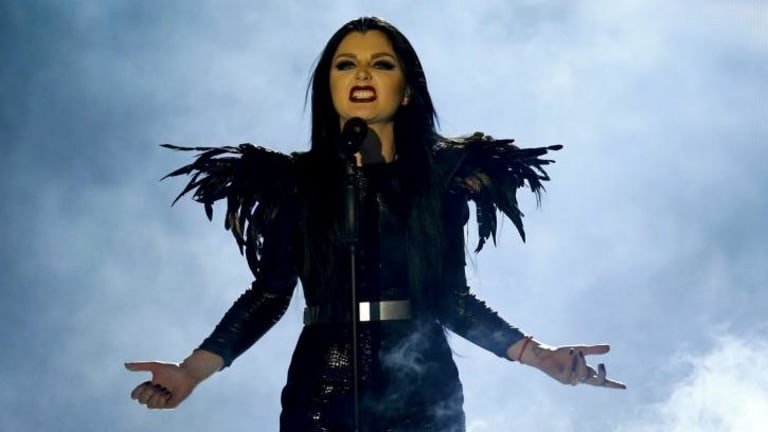 Feathered friend: Georgia's Nina Sublatti performs the song <i>Warrior</i> during the first semi-final.