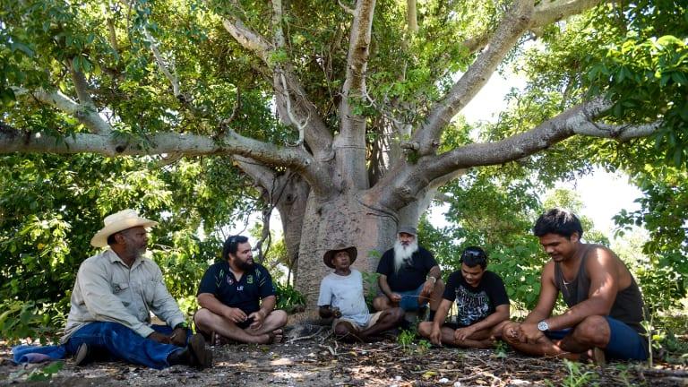 Senior Yawuru men Patrick Dodson, Neil McKenzie and Lalga Djiagween with young Yawuru men discussing ceremonial sites at a meeting tree  near Broome.