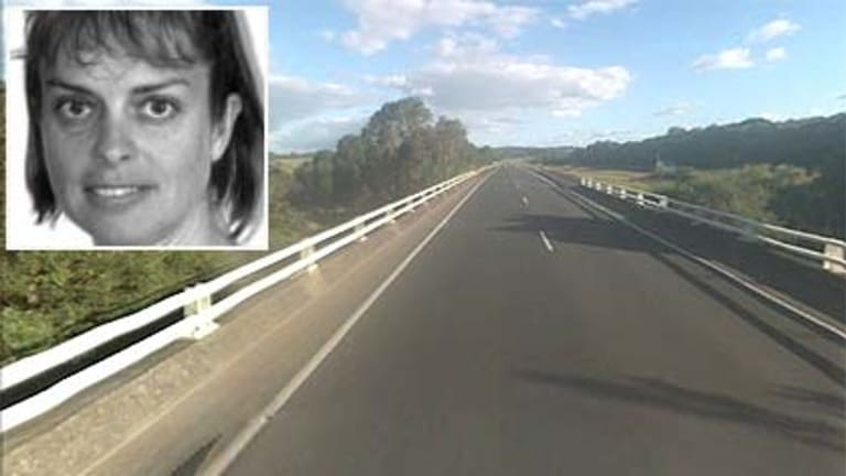 Milli O'Nair and the stretch of road where the accident happened.