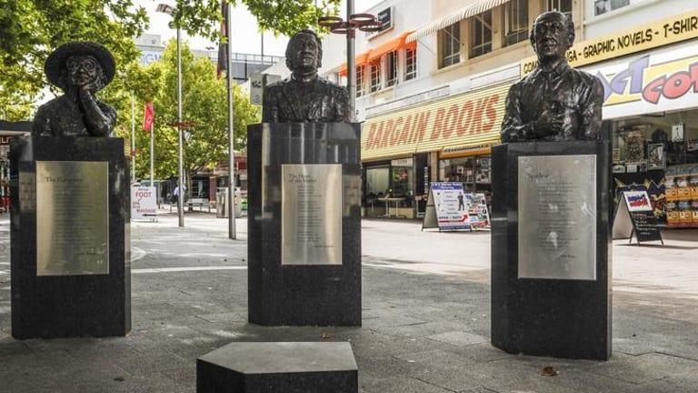 Recently installed public art on City Walk. Poets' Corner by Cathy Weiszmann