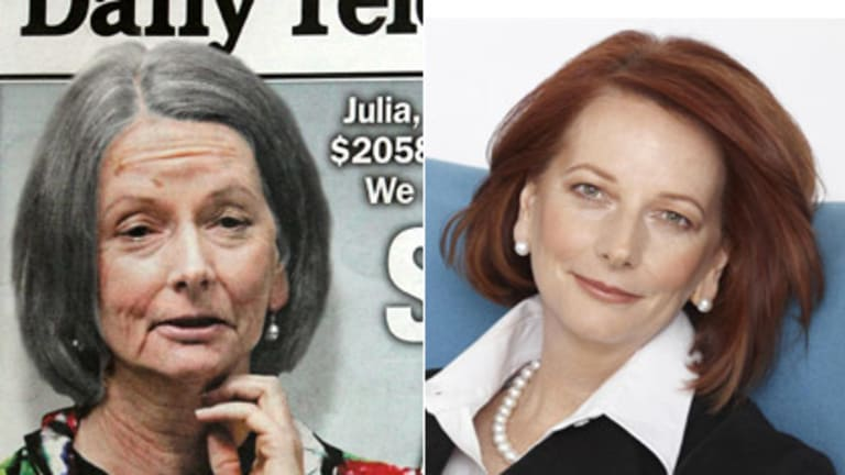 Crinkle to twinkle ... Digitally different takes of the PM from the Daily Telegraph and Australian Women's Weekly.