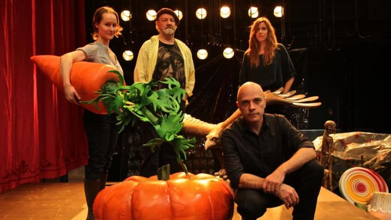 (From left) Edwina Wren, Bille Brown and Katherine Tonkin prepare for the Malthouse production of <i>The Histrionic</i>, with director Daniel Schlusser (front).