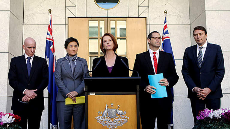 Julia Gillard announces the deal at Parliament House.