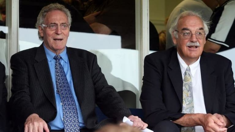 Wes Lofts (left) with Percy Jones at the funeral for former Carlton president, George Harris, in 2007.