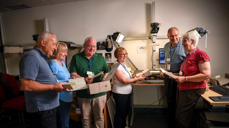 From left, Steve and Deborah Thompson, Roger and Kathleen Bingham and Bill and Nanette Justus in their underground room.